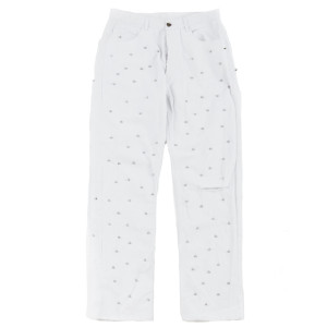 STUDDED DENIM PANTS-WHITE