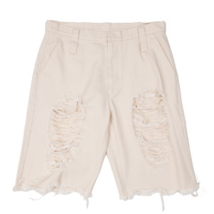 DAMAGED HALF PANTS BEIGE