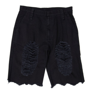 DAMAGED HALF PANTS BLACK
