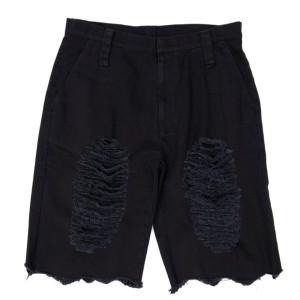 DAMAGED HALF PANTS BLACK
