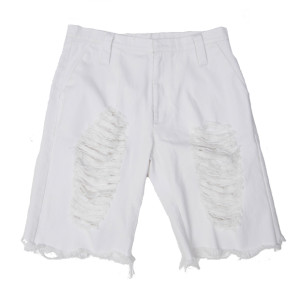 DAMAGED HALF PANTS WHITE