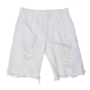 DAMAGED HALF PANTS WHITE