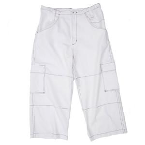 STITCHED DENIM PANTS WHITE
