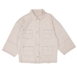 STITCHED DENIM SHIRT BEIGE