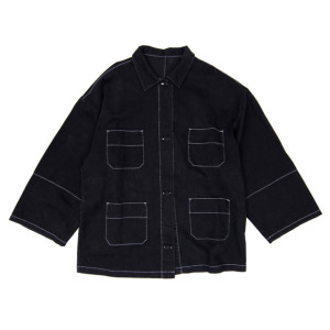STITCHED DENIM SHIRT BLACK