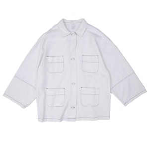 STITCHED DENIM SHIRT WHITE